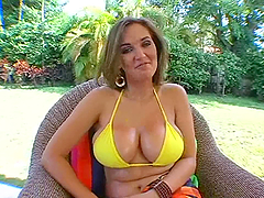 Hot babe with giant boobs and steaming..