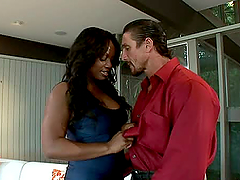 Interracial Hot Fuck With Big Boobed Ebony Babe.
