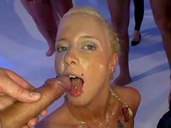 Bibi enjoying all those dicks cause..