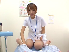 Hot Japanese nurse gets on top of a..