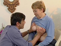 Mature sweetie tasting a younger boner..