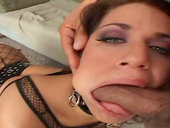 Busty brunette whore Mia Bangg in dog..