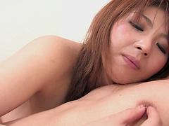 Maria Amane bends over for a dildo..