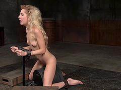 Long hair blonde slave pleasured with..