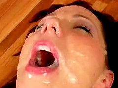 Submissive Brunette Drenched In Cum