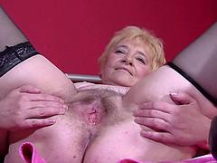 Blonde granny Katja makes her gaping..