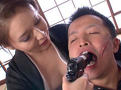 Nasty brunette Asian babe milks a..