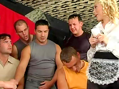 Horny blonde maid takes a bunch of..