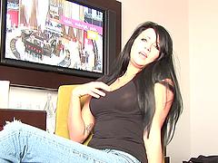 Sexy brunette Chloe Jay looks hot in..