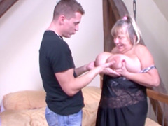 Mature fatty getting pounded without..
