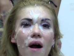 Eva swallows 94 huge mouthful cum loads