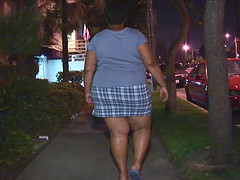 Obese black woman with huge tits bends..