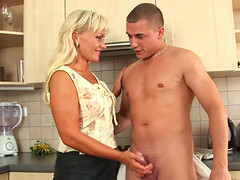 Hot blonde shaved stepmom gets rough..