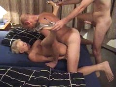 German mature and two men get it on