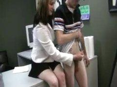 Girl gives handjob until he shoots his..