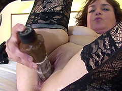 Claudia wears sexy stockings for a..