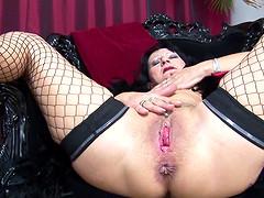 Cute granny Marita drilling her anal..