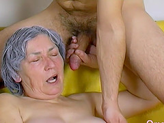 Horny grandma playing and masturbating..