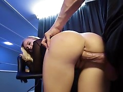 Busty blonde pussy fucked in smashing..