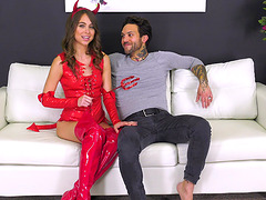 Riley Reid wears a devil's costume..