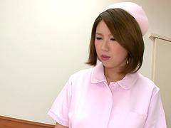 Shy nurse Mayuka Otsuki strips for a..