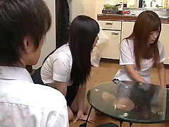 Two sexy Japanese schoolgirls give a..