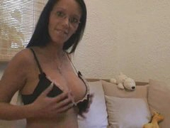 Busty German amateur BJ and doggy style