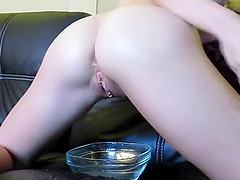 Hot Busty Blonde Stuffing Herself