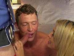 Alexa Raye seduces two men who want to..