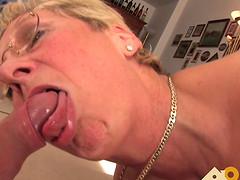 Granny with big natural tits enjoying..