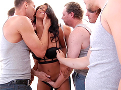 Ebony chick Nia Nacci attacked by a..