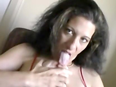 Brunette woman opens her lips for a..