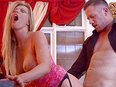 Sexy Holly shaved pussy banged..