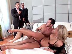 Passionate blonde milf enjoying two..