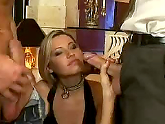 Blonde Babe Gangbanged Good And Hard With Multiple Cumshots.