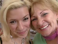 Sexy blond teen and a mature blond..
