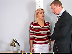 Big Boobed Blonde Tries A Dildo In Her..