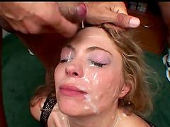 Cum hungry slut gets a facial by dozen..