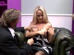 Shoe slut with fake tits riding a..
