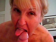 Old horny grandma on how she sucks