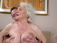 Squeezing the tits of granny Norma..