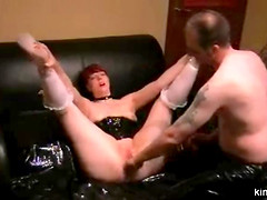 Slave Lize. Her legs tied to her arms,..