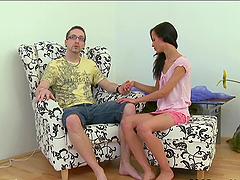 Skinny babe Tonia sucks her BF's cock..