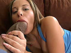 Horny Latina babe is fucking with two..