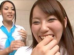 Two hot Japanese lesbians get naughty..