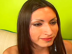 Brunette shemale has oral sex and gets..