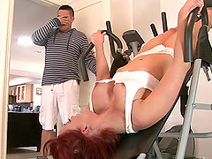 Naughty MILF gets fucked in gym by her..