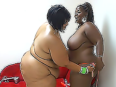 Two adult black fatties have a lesbian..