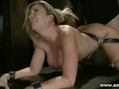 BDSM big tits blonde fucked in the mouth and tought some submission lessons