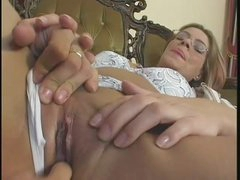 Dick sucking skinny girl in glasses fucked hardcore